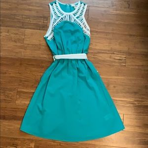 Teal and white boutique dress